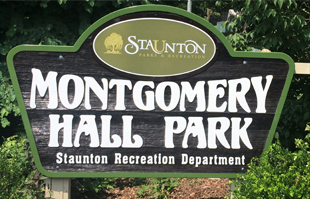 Montgomery Hall Park sign