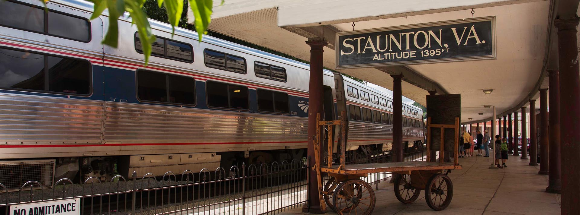 staunton train station and sign