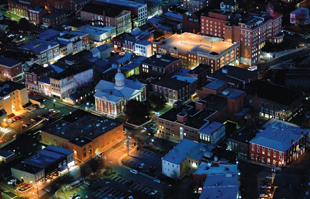 nighttime aerial of staunton