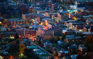 aerial view of staunton's business district