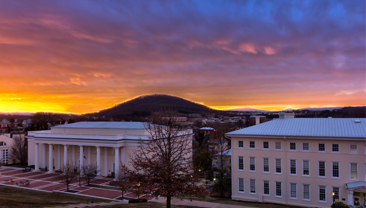 View of Mary Baldwin University and sunrise