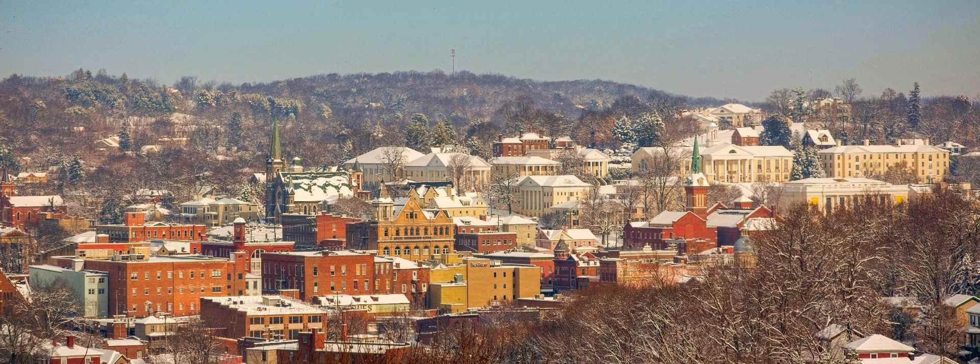 a snowy view of the Staunton skyline