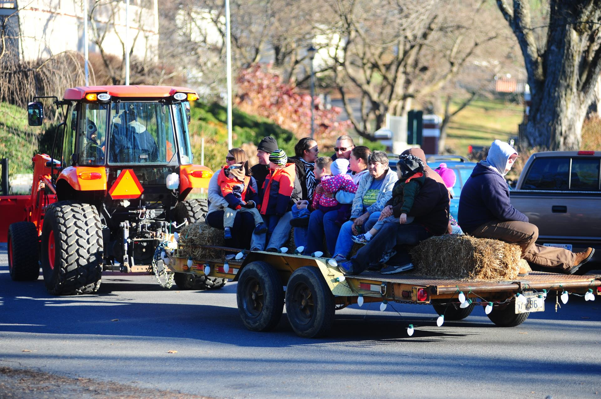 hay ride at caroling in the park event