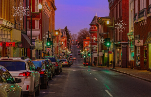 a view of downtown staunton during the holiday season