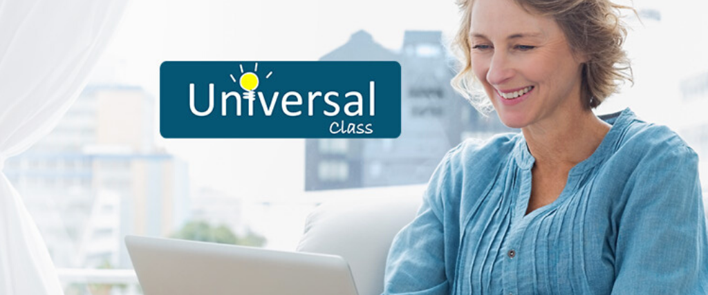 Woman using a laptop. Universal Class logo on image