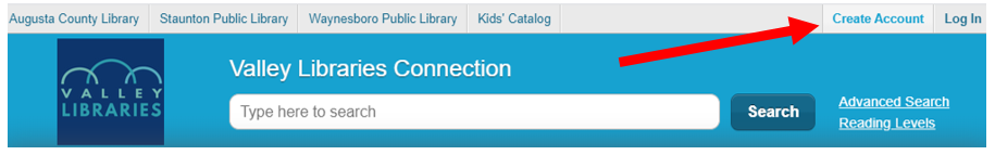 Screenshot of the ValleyLibraries.org menu. Arrow pointing to the words Create Account