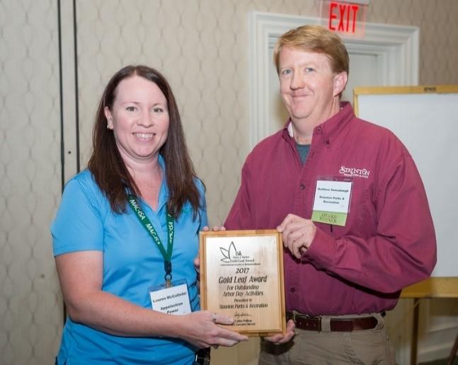 Gold Leaf Award Presentation to City horticulturist Matt Sensabaugh